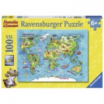 Puzzle  Ravensburger-10595 XXL Pieces - Worldmap (in German)