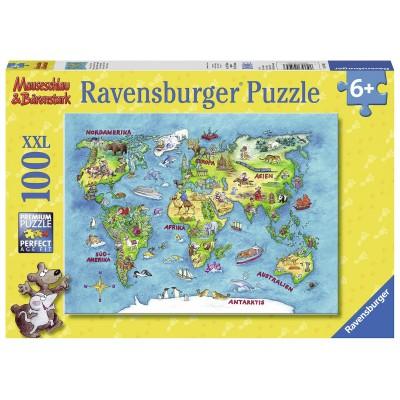 Puzzle Ravensburger-10595 XXL Pieces - Worldmap (in German)