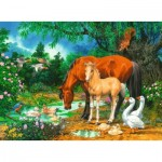 Puzzle  Ravensburger-10833 Idyll at the Pond