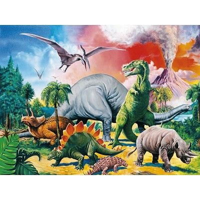 Ravensburger-10957 Jigsaw Puzzle - 100 Pieces - Maxi - With the Dinosaurs