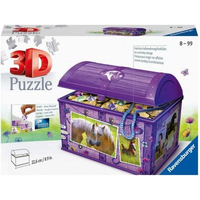 Ravensburger-11173 3D Puzzle - Treasure Chest - Horses