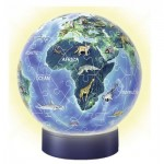 Ravensburger-11844 3D Puzzle-Ball with LED - World