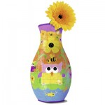 Ravensburger-12050 3D Jigsaw Puzzle - Flower Vase - Girly Girl: Owls