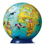 Ravensburger-12202 Puzzle Ball - 108 Pieces - Illustrated Globe (in German)