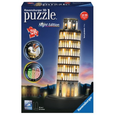 Ravensburger-12515 3D Puzzle with LED - Pisa by Night