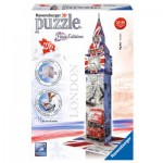 Ravensburger-12582 3D Jigsaw Puzzle - Big Ben Flag Edition