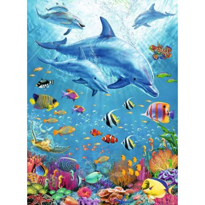 Puzzle Ravensburger-12889 XXL Pieces - Pod of Dolphins