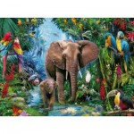 Puzzle  Ravensburger-12901 XXL Pieces - Elephants