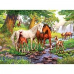 Puzzle  Ravensburger-12904 XXL Pieces - Wild Horses on the River