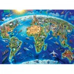 Puzzle  Ravensburger-13227 XXL Pieces - Map of World Monuments