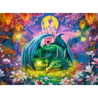 Puzzle Ravensburger-13258 XXL Pieces - Enchanted Forest of the Dragon