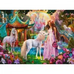 Ravensburger-13617 XXL Pieces - Glitter Puzzle - Princess with Unicorn