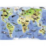 Puzzle  Ravensburger-13669 Colorful Animal World Map