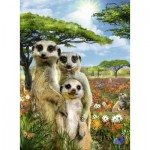 Puzzle  Ravensburger-14744 Happy Meerkat