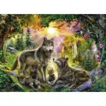 Puzzle  Ravensburger-14745 Wolf's family in the Sunshine