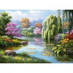 Puzzle  Ravensburger-14827 Romance at the Pond