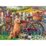 Puzzle  Ravensburger-15036 Cute dogs in the Garden