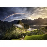 Puzzle  Ravensburger-15158 Rainbow on Machu Picchu, Peru