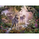 Puzzle  Ravensburger-15185 Wolf Family