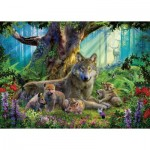Puzzle  Ravensburger-15987 Family of Wolves in the Forest