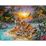 Puzzle  Ravensburger-16624 Tiger Family at Sunset