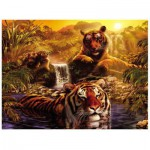 Ravensburger-16646 Jigsaw Puzzle - 2000 Pieces - Tigers' Bathing