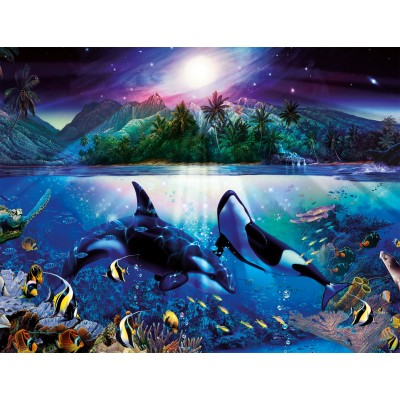 Ravensburger-16661 Jigsaw Puzzle - 2000 Pieces - Graceful Killer Whales