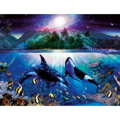 Ravensburger-16661 Jigsaw Puzzle - 2000 Pieces - Graceful Killer Whales