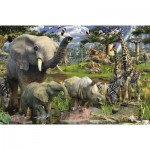 Puzzle  Ravensburger-17070 Animals at the Watering Hole