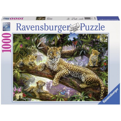 Puzzle Ravensburger-19148 Leopard mum and her cubs