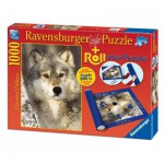 Ravensburger-19911 Puzzle Roll + Puzzle Wolf