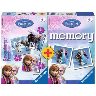 Ravensburger-22311 Frozen 3 Puzzles + Memory