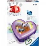 3D Puzzle - Heart Box - Horses