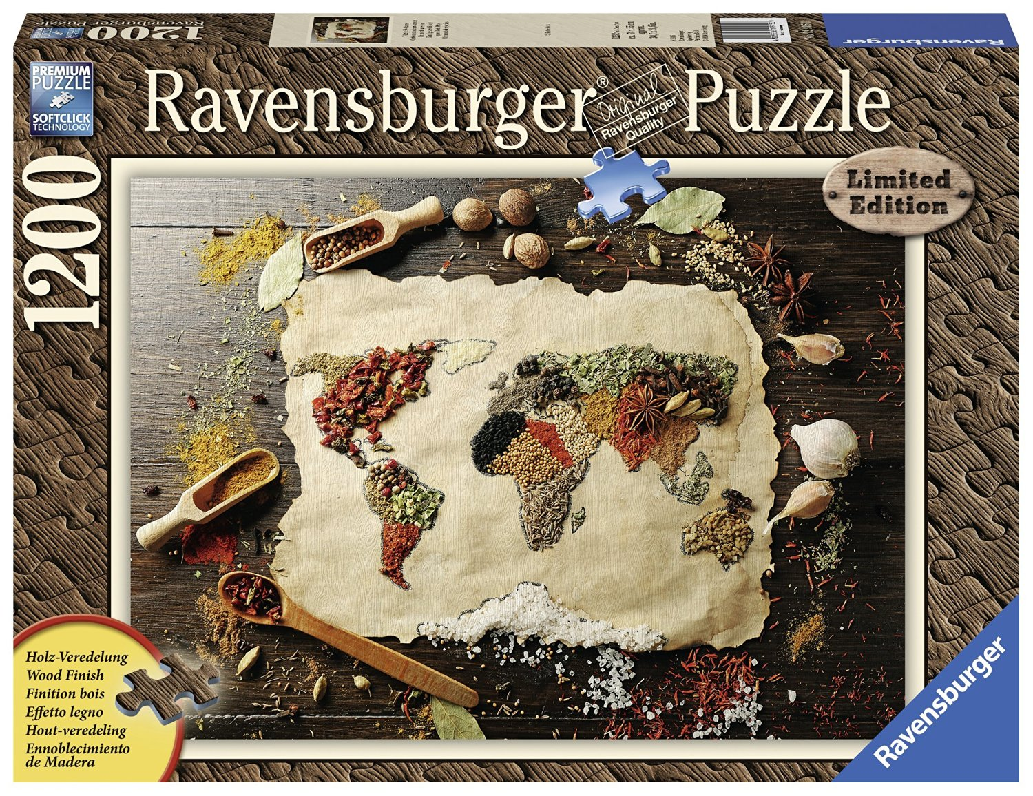 Puzzle wood finish spicy world map ravensburger 19915 1200 pieces wood finish spicy world map puzzle ravensburger 19915 gumiabroncs Image collections