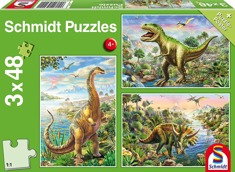3 jigsaw puzzles dinosaurs schmidt spiele 56202 48 pieces jigsaw puzzles dinosaurs jigsaw. Black Bedroom Furniture Sets. Home Design Ideas