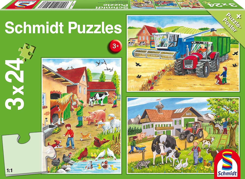 3 jigsaw puzzles on the farm schmidt spiele 56216 24 pieces jigsaw puzzles farm animals. Black Bedroom Furniture Sets. Home Design Ideas
