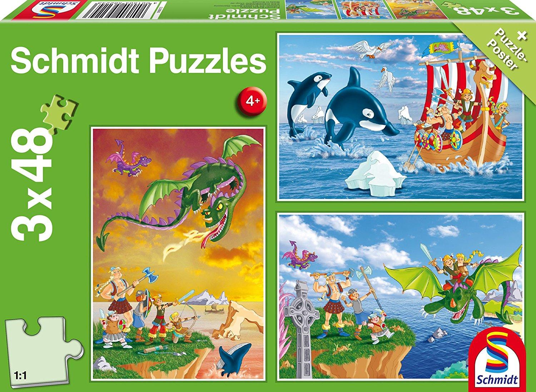 3 jigsaw puzzles viking schmidt spiele 56224 48 pieces jigsaw puzzles pirates vikings. Black Bedroom Furniture Sets. Home Design Ideas