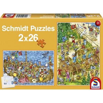 Schmidt-Spiele-56008 Jigsaw Puzzle - 2 x 26 Pieces - Vikings