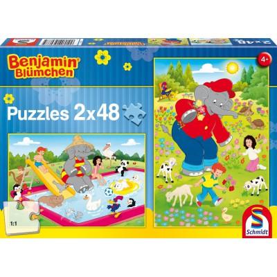 Schmidt-Spiele-56077 2 puzzles Benjamin Blümchen: At summer time