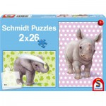 Schmidt-Spiele-56107 2 Puzzles: The babies of the zoo