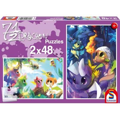 Schmidt-Spiele-56114 2 puzzles: 7 1/2 dragons