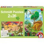 Schmidt-Spiele-56119 2 Puzzles: Our friends the dinosaurs
