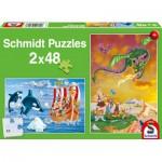 Schmidt-Spiele-56153 2 Jigsaw Puzzles - Viking