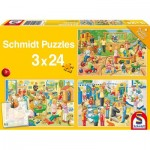 Schmidt-Spiele-56201 3 Jigsaw Puzzles - A Day in the Children's Garden