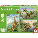 Schmidt-Spiele-56202 3 Jigsaw Puzzles - Dinosaurs