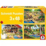 Schmidt-Spiele-56203 3 Jigsaw Puzzles - All my Favorite Animals
