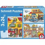 Schmidt-Spiele-56215 3 Jigsaw Puzzles - Fire Brigade and Police