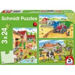 Schmidt-Spiele-56216 3 Jigsaw Puzzles - On the Farm