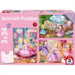 Schmidt-Spiele-56217 3 Jigsaw Puzzles - Princess