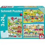 Schmidt-Spiele-56219 3 Jigsaw Puzzles - World of Vehicles